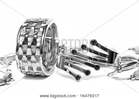 silver bracelets with beads isolated on white background