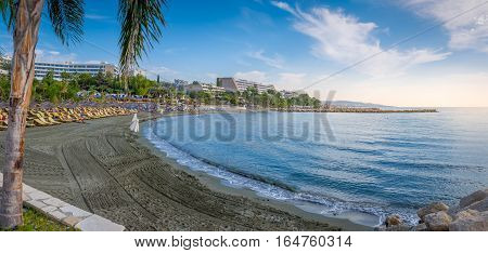 Limassol Cyprus - October 25 2016: People enjoying the beach on a warm and sunny day at a beach in Limassol
