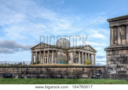 Calton Hill monument and observatory in Edinburgh Scotland UK