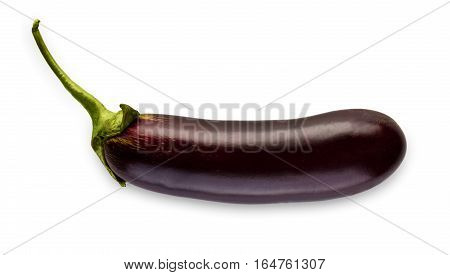 One ripe eggplant isolated on white background. Closeup image of ideal aubergine vegetable with green fresh peduncle, healthy natural organic food