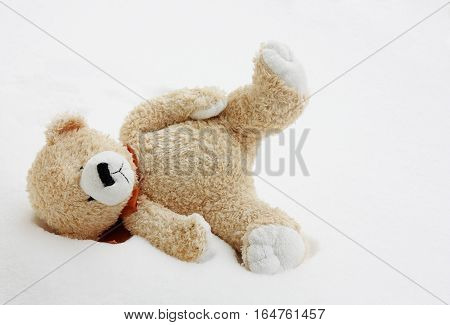 image of a teddy bear lost in snow
