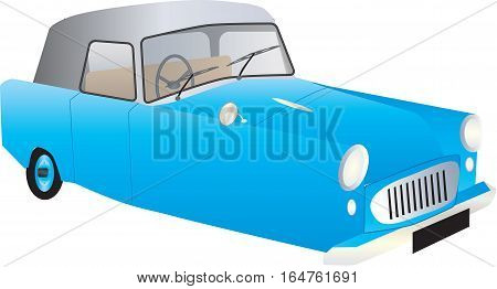 A Blue Veteran Three Wheeler Car isolated on white