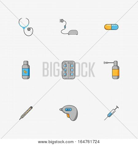 Doctor's set of simple icons for treating diseases such as flu and chill. Contains thermometers, inhaler, mixture, spray, pills, capsule, stethoscope,syringe on grey background