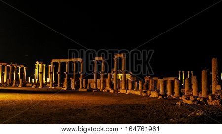 Night Panorama of Palmyra columns and ancient city destroyed by ISIS Syria