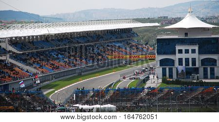 ISTANBUL/TURKEY-MAY 8, 2011 : Istanbul Park Circuit and counterclockwise race track of Formula One.