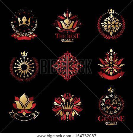 Royal Symbols, Flowers, Floral And Crowns, Emblems Set. Heraldic Vector Design Elements Collection.
