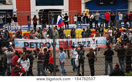 ISTANBUL/TURKEY-MAY 8, 2011 : Crowd of tourists and visitors of Formula-1 DHL Turkish Grand Prix race and spectacle in Istanbul Park Circuit.