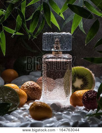 The bottle of perfume stand on the white stones with different kinds of fruits around the bottle and green leaves above the bottle. Black background with light rain.