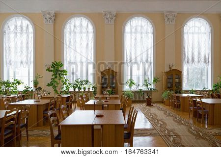 Gomel, Belarus - Yanuary 10, 2017. The City Library Named After Lenin, Reading Room Without Visitors