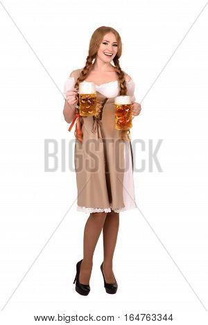 Portrait of a Happy Woman Wearing a Traditional Oktoberfest Costume with Two Beer Glasses and Holding a Sign. Isolated on White Background