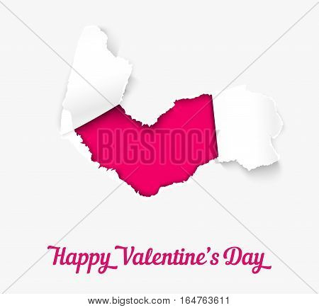 Torn paper heart over pink background, realistic vector illustration