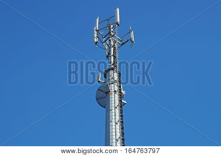 mobile pole behind tree with blue sky back ground , technology can coexist with the environment