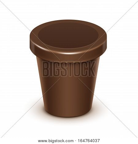 Vector Brown Blank Food Plastic Tub Bucket Container For Chocolate Dessert, Yogurt, Ice Cream, Sour Cream with Label for Package Design Mock Up Close up Isolated on White Background