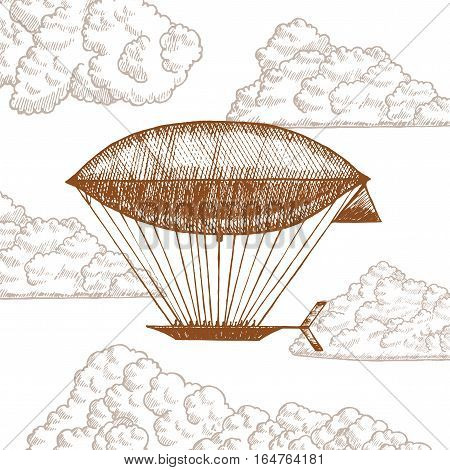 Zeppelin in Clouds on Sky Hand Draw Sketch. Retro Airship or Dirigible Vintage Style Design. Vector illustration