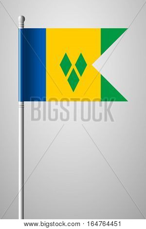 Flag Of Saint Vincent And The Grenadines. National Flag On Flagpole