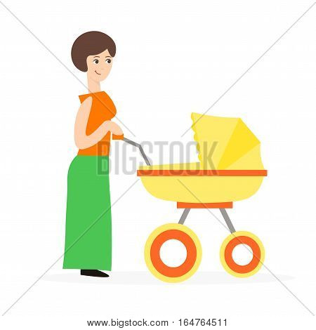 Cartoon Cute Mother with a Stroller Takes Care of Baby Flat Design Style. Vector illustration