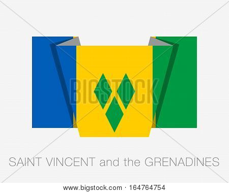 Flag Of Saint Vincent And The Grenadines. Flat Icon Wavering Flag With Country Name