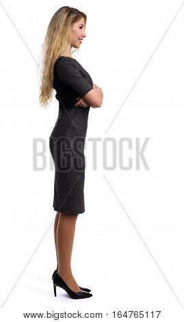 Full Length Profile Portrait Of A Beautiful Businesswoman