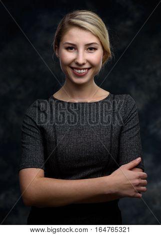 Cheerful Beautiful Blonde Woman Portrait