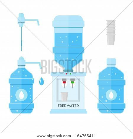 Water in the Office Concept Cooler, Blue Full Bottle and Cup Set. Vector illustration