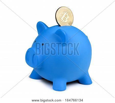 Golden Bitcoin Coin And A Piggy Bank