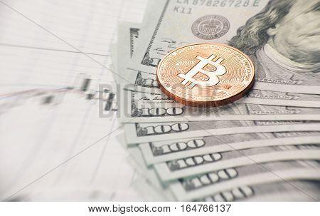 Close Up Of Bitcoin Coin