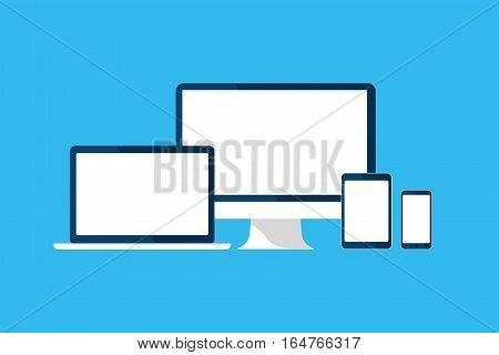 Devices set. Computer, tablet, phone, laptop, monitor, PC icons. Gadgets isolated on blue. White screen, template blank, mock up. Vector cartoon flat illustration for web site, mobile app, UI