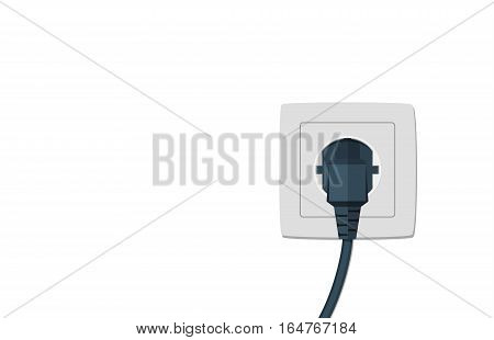Black electric cord plugged into a single electric socket on white background. Vector illustration in flat style.