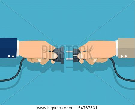 Businessmen connecting hold plug and outlet in hand, Cooperation, Partnership concept. Vector illustration in flat design.