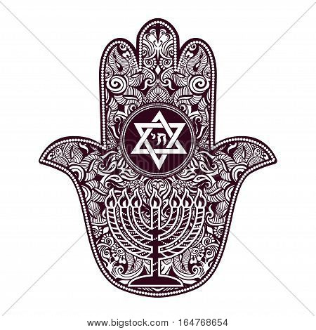 Jewish sacred amulet and religious symbols Menorah, Hanukkah lamp - Hamsa or hand of Miriam, palm of David, star of David, Rosh Hashanah, Hanukkah, Shana Tova