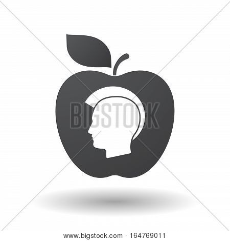 Isolated Apple With  A Male Punk Head Silhouette