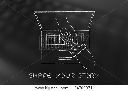 Hand With Microphone Coming Out Of Latop Screen To Interview The User