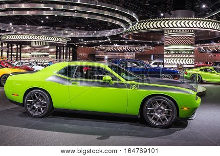 DETROIT MI/USA - JANUARY 9 2017: A 2017 Dodge Challenger T/A car at the North American International Auto Show (NAIAS).