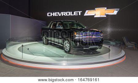 DETROIT MI/USA - JANUARY 9 2017: A 2017 Chevrolet Silverado High Country car at the North American International Auto Show (NAIAS).