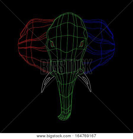 strict view wildlife  the head of a large and strong elephant. grid of the three colors. Isolate on black background.