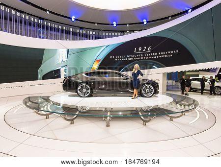 DETROIT MI/USA - JANUARY 9 2017: A Cadillac Escala Concept car at the North American International Auto Show (NAIAS).