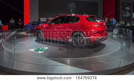 DETROIT MI/USA - JANUARY 9 2017: A 2018 2017 Alpha Romeo Stelvio car at the North American International Auto Show (NAIAS).