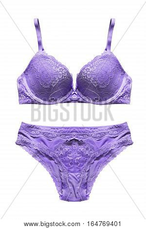 Lacy purple lingerie isolated on white background