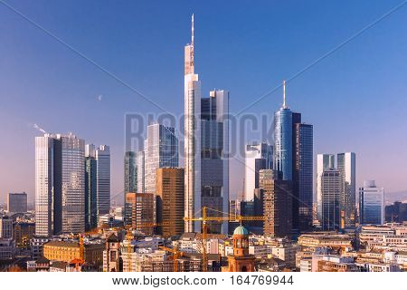 Aerial view of business district with skyscrapers as seen from Frankfurt Cathedral, Frankfurt am Main, Germany