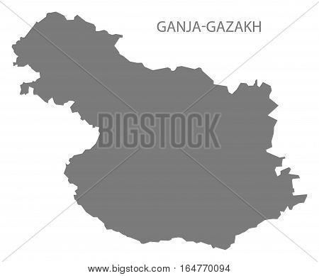 Ganja-Gazakh Azerbaijan Map grey region silhouette illustration