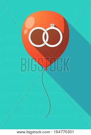 Long Shadow Balloon With  Two Bonded Wedding Rings