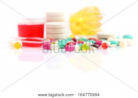 Color Pills On White (with Space For Text)