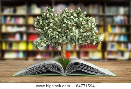 Tree Growing From Book A Big Open Book With Tree Reading Makes You Richer Concept 3D Render On Wood