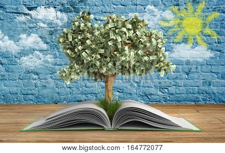 Tree Growing From Book A Big Open Book With Tree Reading Makes You Richer Concept 3D Render Wood And