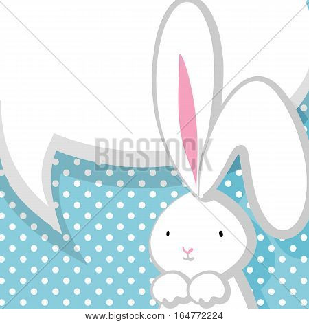 Blue halftone background. White cute rabbit with big ears pink nose, congratulates Easter, Birthday or other holiday. Vector festive hand drawn illustration. Comic bubble, empty balloon.