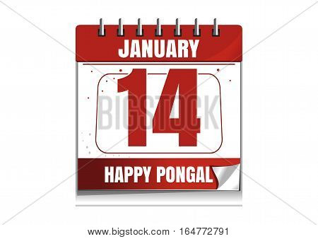 Red wall calendar. 14th January. Holiday date. Happy Pongal. Vector illustration isolated on white background