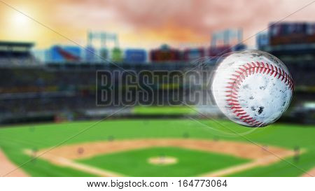Flying baseball leaving a trail of smoke. Spinning dirty baseball, selerctive focus. 3D illustration