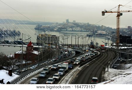 Vladivostok, Primorsky Krai, Russia - December 22, 2014 - city center. entry into the Golden Bridge. Golden Horn Bay in the December 22, 2014 in Vladivostok, Russia