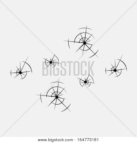 icon bullet holes in the glass, holes, shot, fully editable vector image