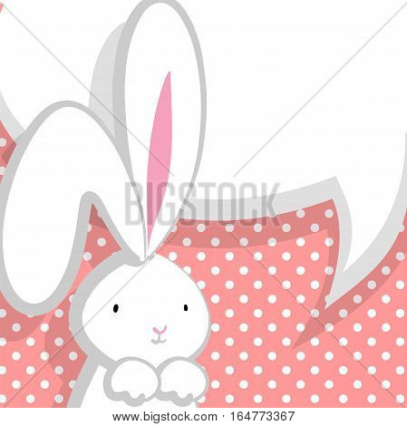 Vector festive hand drawn illustration. Comic bubble, empty balloon. White cute rabbit with big ears pink nose, congratulates Easter, Birthday or other holiday. Pink halftone background.